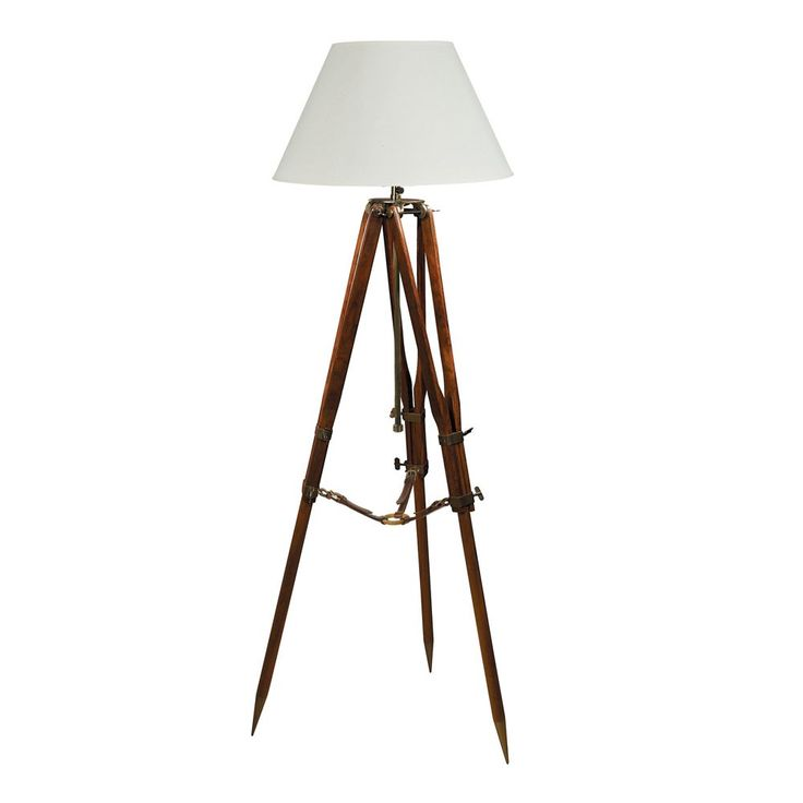 Authentic Models Campaign Tripod Lamp - Fabulous traditional Authentic Models Tripod lamp which is derived from the early telescopes and surveying equipment bases that were originally used on British surveying expeditions in the twenties for mapping the deserts and hills.  They are made of metal and wood combined with saddler's leather straps creating a great accent lamp for any room setting where form follows function.