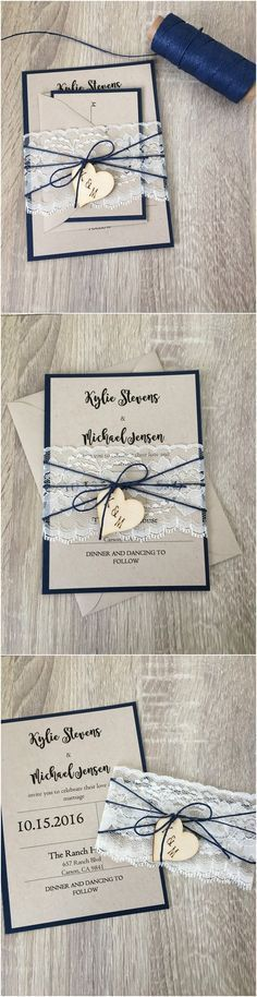 Rustic Navy blue wedding invitation with wooden heart / http://www.deerpearlflowers.com/rustic-wedding-invitations-from-etsy/
