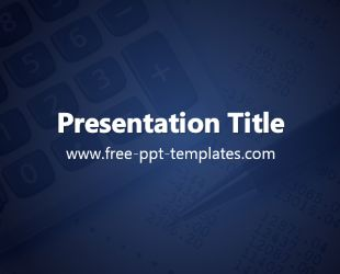 The free Expenses PowerPoint Template is a blue template with a background image of a papers and calculator.