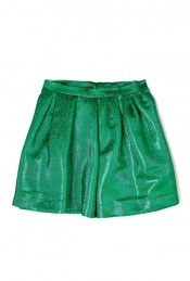 Metallic Green Skater Skirt by MSGM