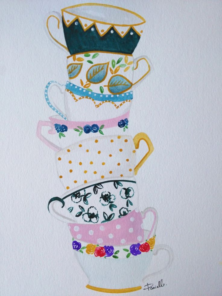Original Tea Cup Stack Watercolor Painting - teacup painting, kitchen artwork, tea cup painting, kitchen wall art, tea painting by FeathersandStars on Etsy