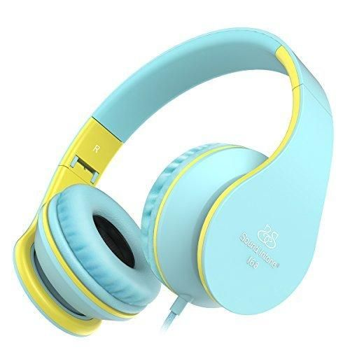 Headphones Sound Intone Foldable Headphones with Microphone and Volume Control On-ear Wired Headset for iphone and Android Devices (Blue/yellow)