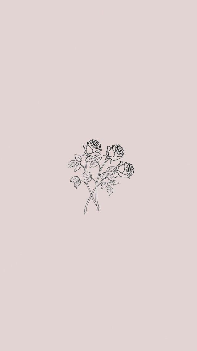 Minimalist Roses Homescreen Wallpaper Cute Lockscreens Simple