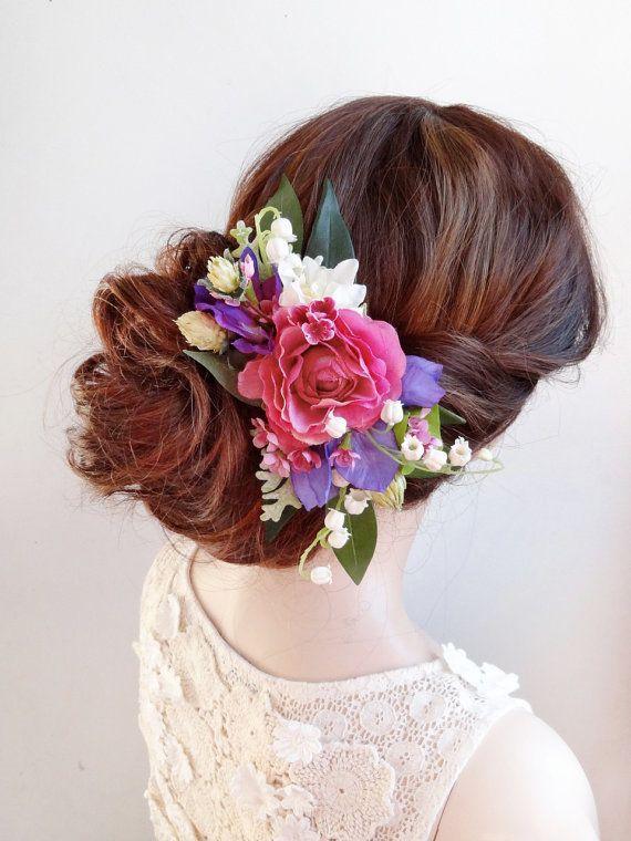 pettine nuziale dei capelli, fermaglio per capelli fiore, matrimonio fucsia, copricapo da sposa, matrimonio copricapo, copricapo floreale, pettine floreale, fiore rosa