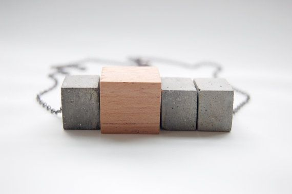 Wood and Concrete Block Necklace Gray Cement by MapleandMauve, $54.00