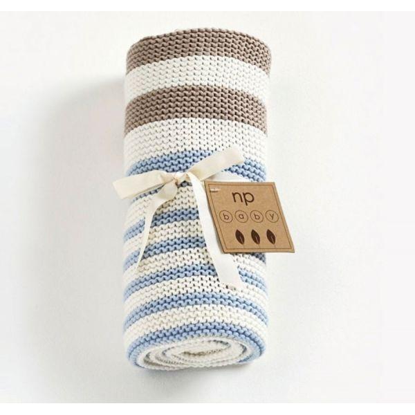 Stickad filt pastell blå, Nature Purest, ekologisk bomull