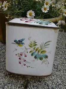 Charmante-fontaine-emaillee-ancienne-Japy-Oiseau-et-fleurs-no-cafetiere