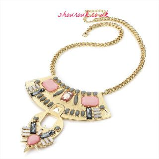 Caprice  Statement Shourouk Inspired Gem Bohemian Necklace Pink and Grey Acrylic Gems Gold Alloy Over all Length 54cm