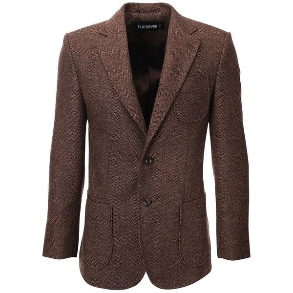 FLATSEVEN Mens Herringbone Wool Blazer Jacket with Elbow Patches (6.575 RUB) ❤ liked on Polyvore featuring men's fashion, men's clothing, men's sportcoats, mens blazers, mens brown blazer, mens clothing, mens blazer jacket and men's sportcoats and blazers