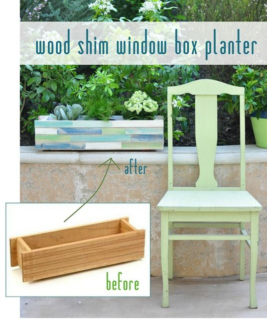 Darling planter box.  I think I'll have to have one as a dining room centerpiece. Update - Made two of these as Mother's Day gifts.  They turned out cute!