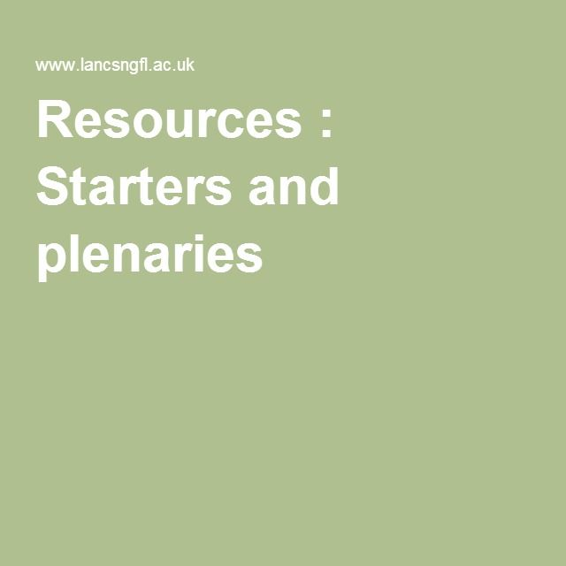 Resources : Starters and plenaries