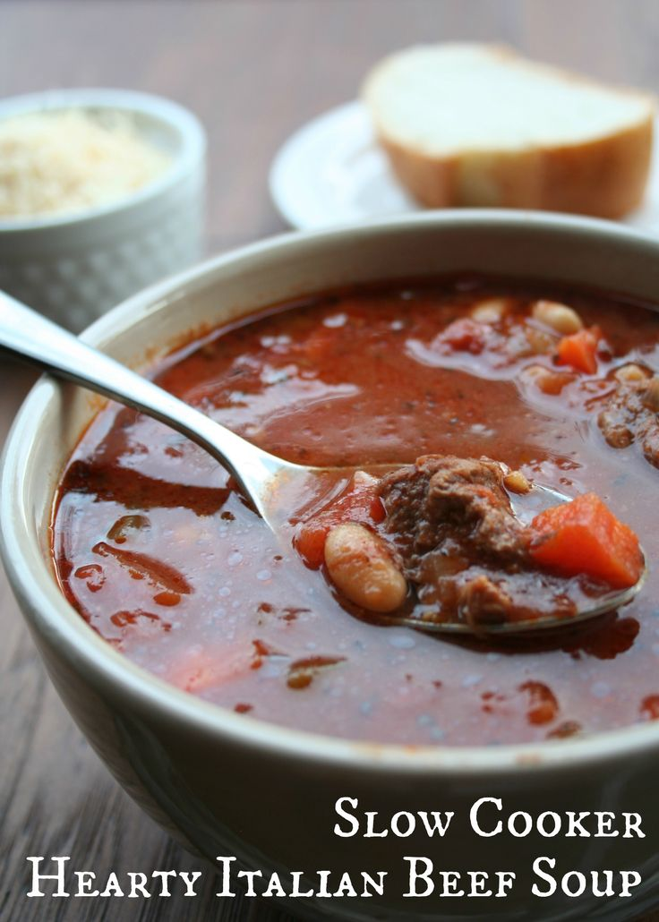 Slow Cooker Hearty Italian Beef Soup, top with parmesan cheese, and serve french bread for dipping.