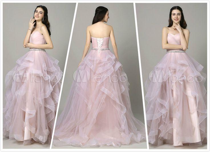 Lilium linea Prom Dress rosa con scollo a cuore senza maniche a pieghe
