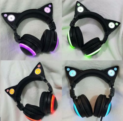 Cat-Ear-Gaming-Mic-Headphones-LED-Speakers-Music-Audio-Lights-USB-Rechargeable