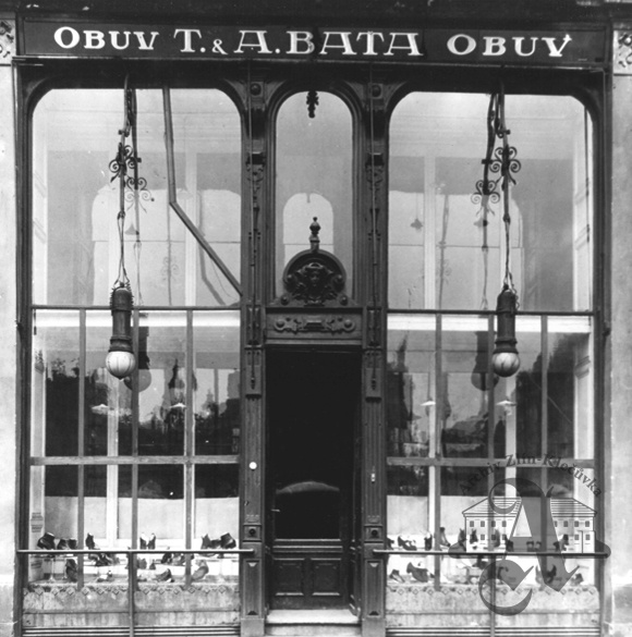 Bata Shoes. 1919.  Shame it's not around anymore, the store.