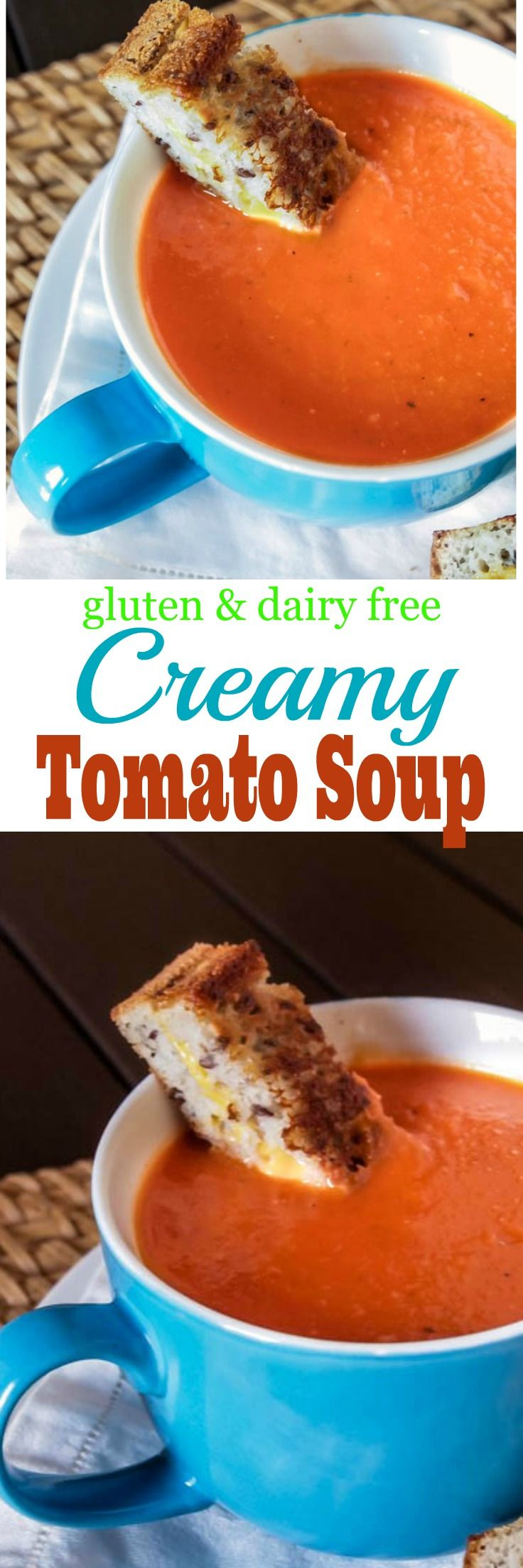 Warm up on those cool nights with this easy Creamy Gluten Free and Dairy Free Tomato Soup