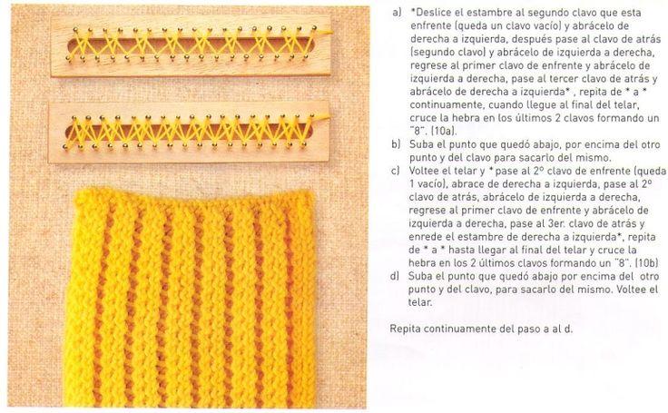Loom knitting stitches, instructions in Spanish ♥LLK♥ Telar rectangular instruccciones en Español #10