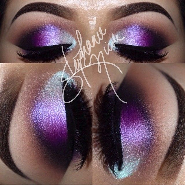 White and Purple Shimmer Smokey Eye Makeup - Lashes
