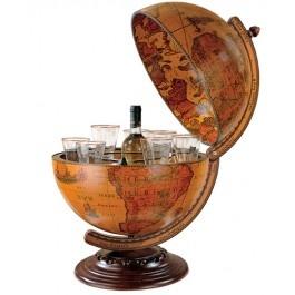 Bar glob pamantesc de birou, meridian lemn - invita-ti prietenii sau partenerii de afaceri la un pahar de vorba!
