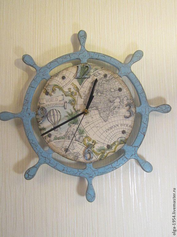 """Купить Часы """"Голубой штурвал"""" - голубой, мечта, путешествие, корабль, море, карта, штурвал, старина"""