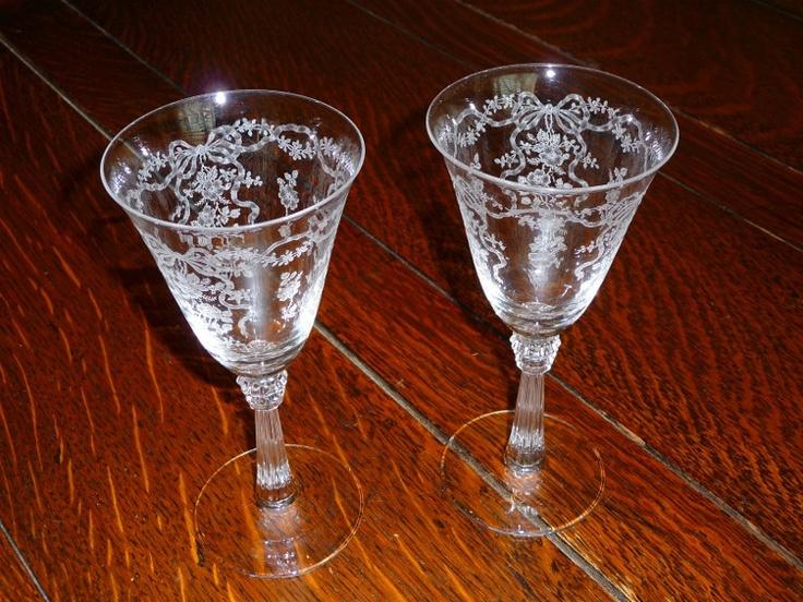 FOSTORIA ROMANCE Pair Of Crystal Wine Glasses Crystal Wine Glasses Win