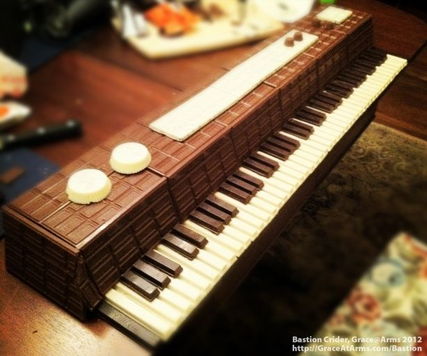 Bastion's completed chocolate piano (after adding a Hershey's chocolate bar case to the Kit Kat keyboard he'd constructed).