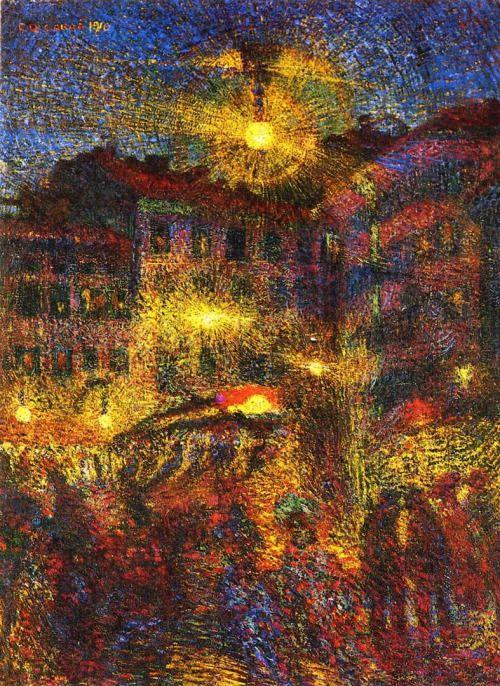 Carlo Carrà, Night At Piazza Beccaria In Milan.