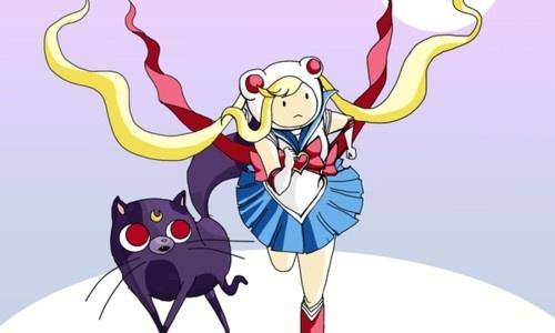 Hora de aventura en versión de Sailor Moon