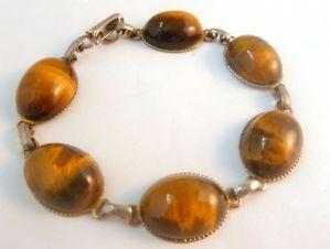 Vintage Tigers Eye cabochon Gem Stone Set Bracelet.