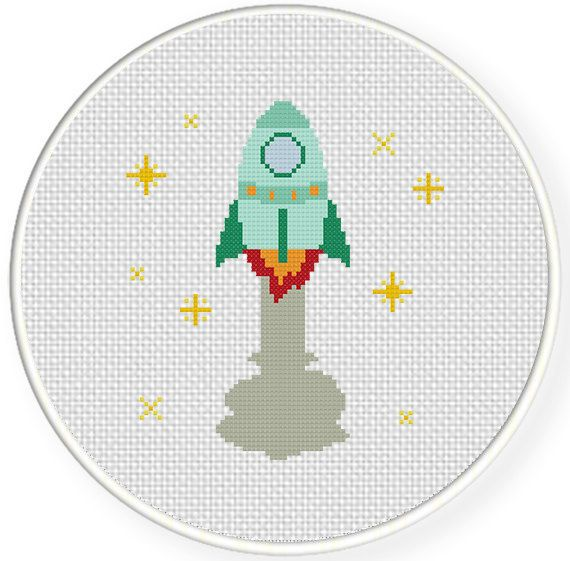 Spaceship PDF Cross Stitch Pattern Needlecraft by DailyCrossStitch