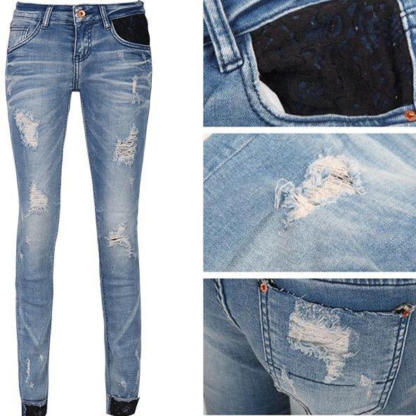 Хорошее качество дамы джинсы стрейч ноги брюки хип Тонкий кружева брюки края керлинг капри повседневные брюки