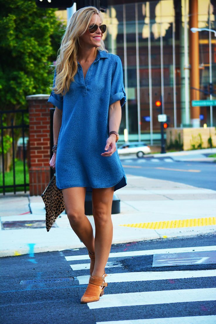 The best way to show fashion & style royal blue shirt little dress with leopard leather clutch and pumps