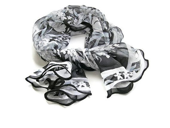 Black white #scarf Cute Scarf #Silk #Shawls Womens by DesignHappyDay