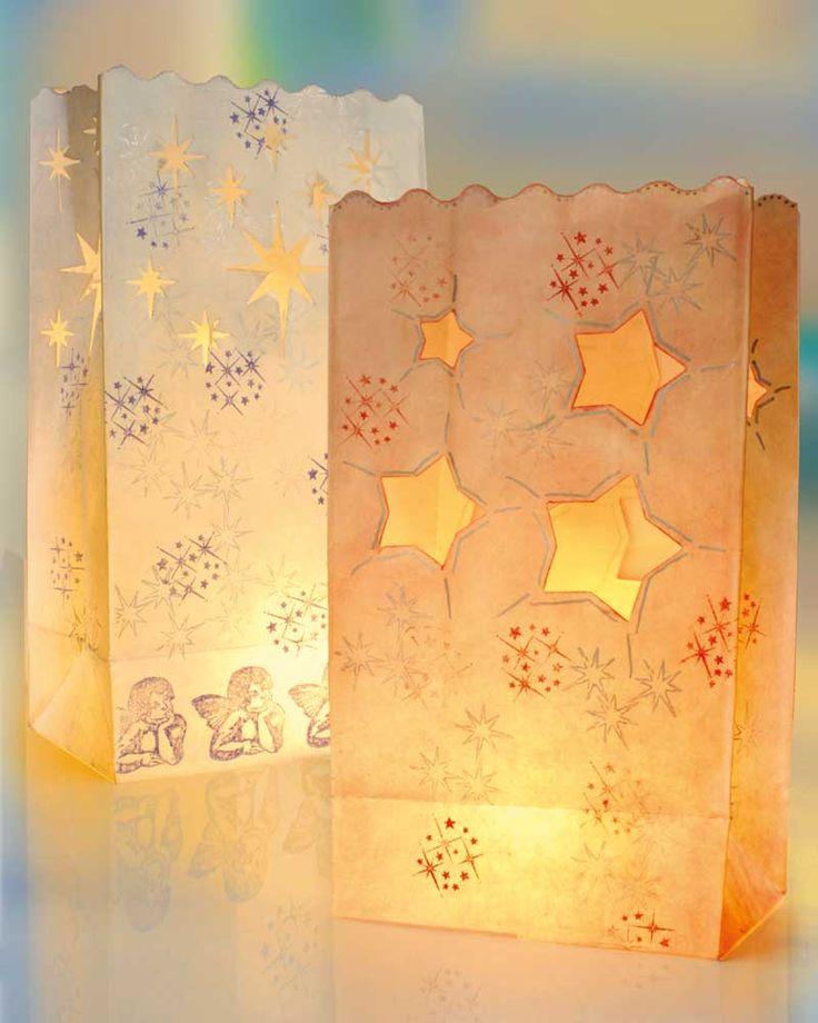 Licht-Tüten mit Weihnachts-Stickern - Weihnachten - Lichter und Kerzen