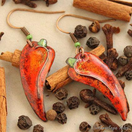 серьги перец чили, горячая эмаль