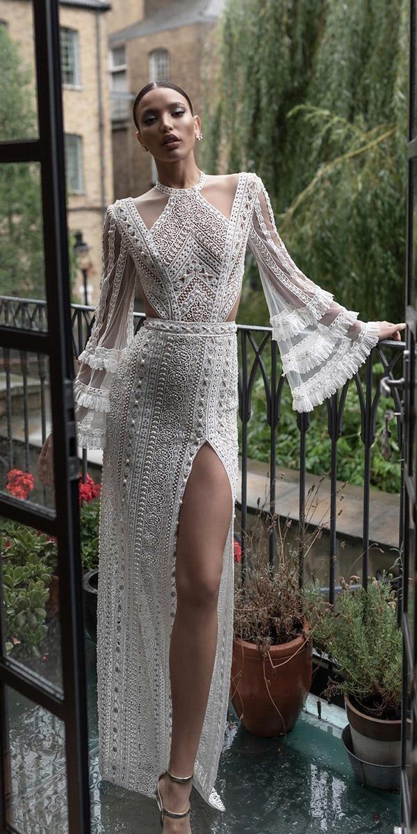 Spitze Brautkleider mit Ärmeln Mantel mit Schlitz einzigartig charchy