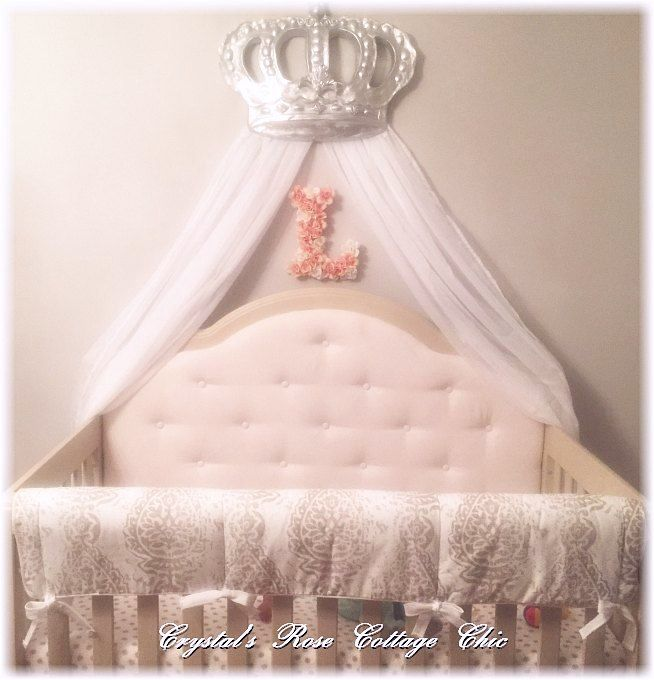 Silver Bella Bed Crown Canopy Over Crib Nursery Decor Bed Crown Canopy Canopy Over Crib Bed Crown