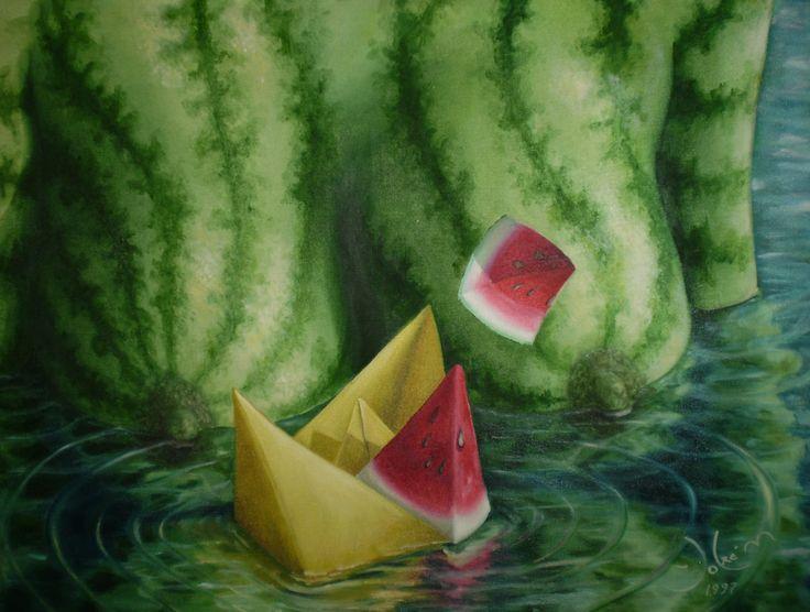 sandia en el agua