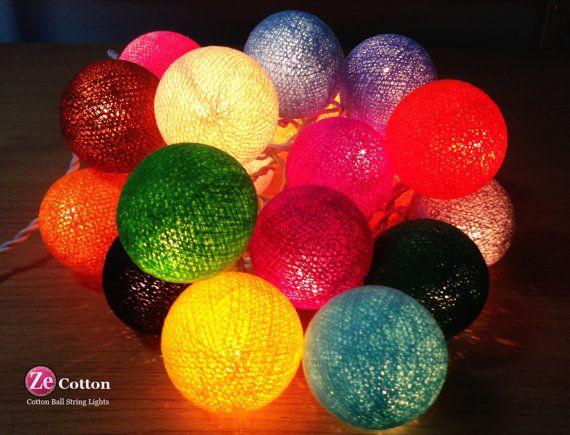 Mixed SET 35 Mixed Color Cotton Ball String Lights by zecotton, $16.99