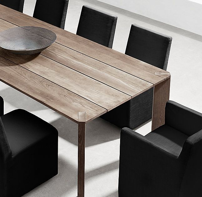 RH's Paros Rectangular Dining Table:Superb craftsmanship and 1950s Modernism bring an elevated aesthetic to this teak outdoor collection designed by Ann Marie Vering.