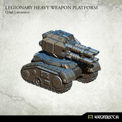 This set contains one resin Legionary Heavy Weapon Platform armed with Quad Lascannon. Designed to fit futuristic 28mm heroic scale vehicles. This model is approximately 53mm long, 44mm wide and 45mm height.