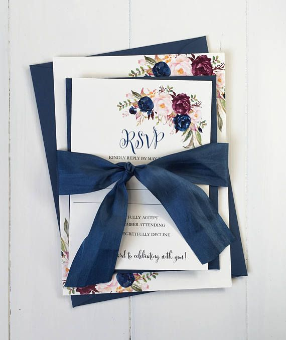 Elegant Wedding Invitation, Modern Wedding Invitation, Boho Chic Wedding Invitation, Navy wedding Invitation. Marsala Burgundy Wedding These handmade wedding invitations are the perfect way to invite your family and friends to your wedding! These wedding invitations are printed on off white cardstock and Tied with navy hand dyed silk ribbon. As you can see, these invitations are completely unique, and hand made with love , by me! I love custom orders, and am more than happy to make these…