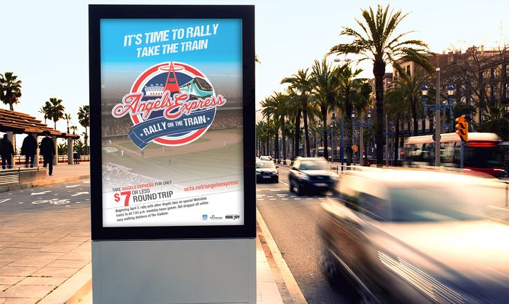789 worked with WS&A,the Orange County Transportation Authority and the Los Angeles Angels of Anaheim to develop the branding of the current Angels Express program and marketing campaign for Metrolink. The campaign focused on promoting the Angels Express train schedule and special pricing for riding to and from home games.