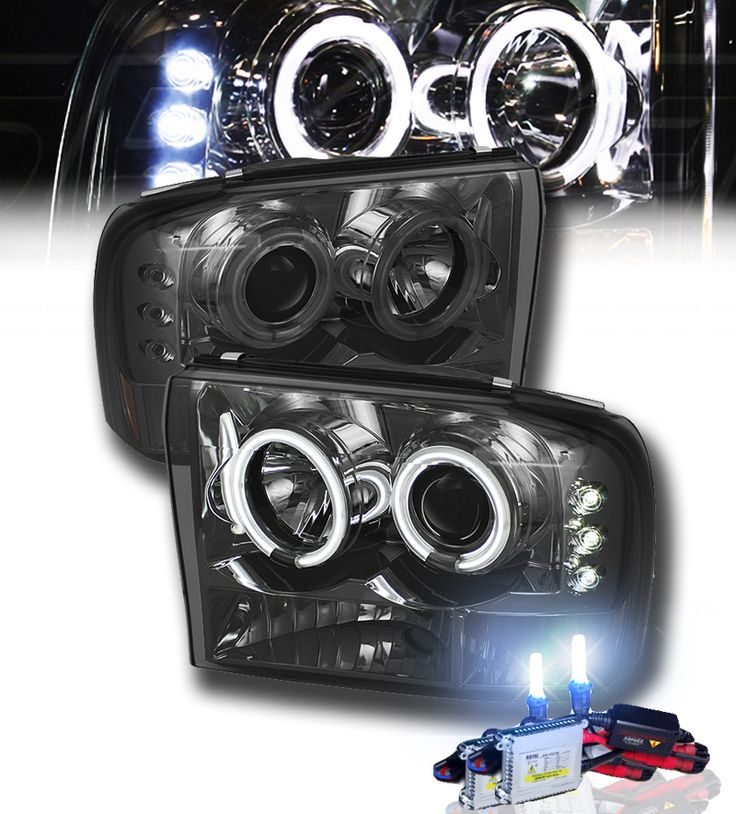 HID Xenon + 99-04 Ford F250 F350 F450 SuperDuty / Excursion Angel Eye Halo & LED Projector Headlights - Smoked