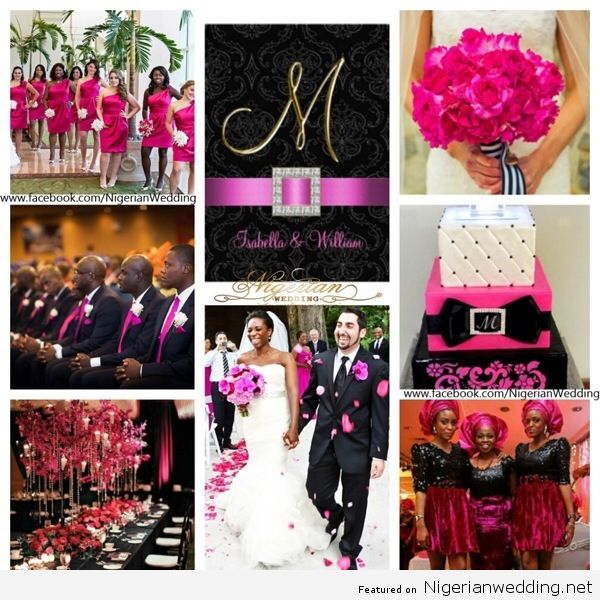 White Black Fuchsia Pink Wedding Color Scheme I Would Use More Of A Burgundy