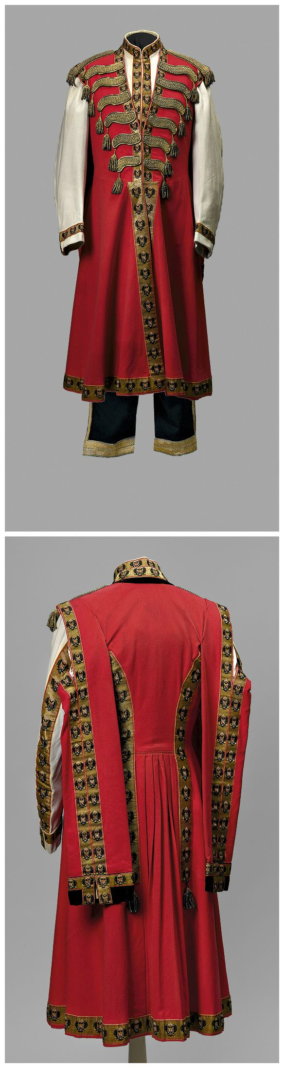 Ceremonial uniform (front and back) of a chamber Cossack (Cossack bodyguard) at the private quarters of Empress Alexandra Fyodorovna. Made by I. P. Lidval Company, St. Petersburg. 1910s. Collection of State Hermitage Museum. The reigning Empress's chamber Cossacks wore predominantly red uniforms, while those serving the Dowager Empress wore blue.
