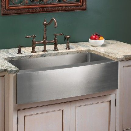 Optimum Stainless Steel Farmhouse Sink   Curved Front
