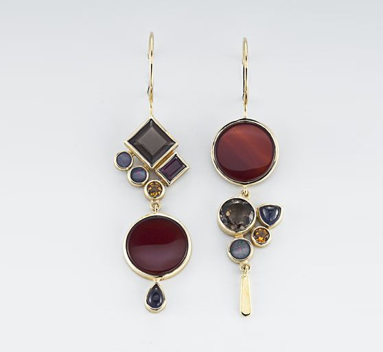 Earrings | Janis Kerman.  18kt yellow gold, carnelian, smokey quartz, boulder opal, citrine, garnet, iolite.