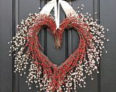 Heart Wreath - Valentine Be Mine - Red Hearts - Wreaths - Front Door Wreath - Valentine's Day Gifts.
