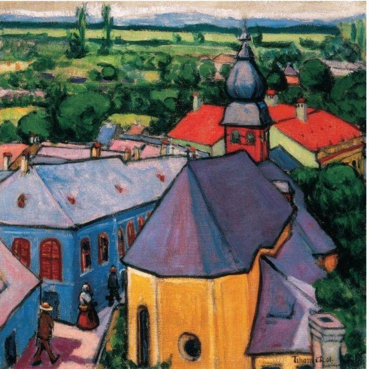 Tihanyi Lajos(1885ー1938)「Tihanyi Lajos, Tájkép toronyból」(1908)